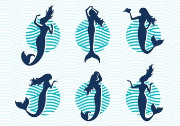 Mermaids Vector Silhouettes Illustrations Free - бесплатный vector #144273