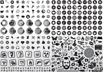 Black White Vector Icons - vector gratuit #144773