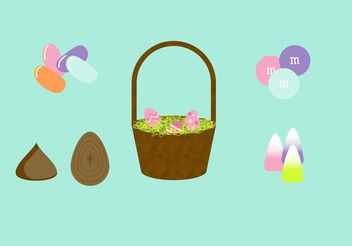 Easter Basket Vector Set - Free vector #144873