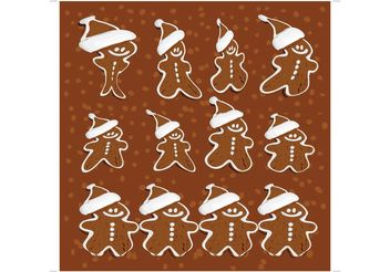 Gingerbread Man Vectors - Free vector #144973