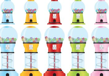 Retro Bubblegum Machine Vectors - vector gratuit #145083