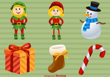 Happy Christmas Illustrations - бесплатный vector #145093