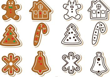 Gingerbread Cookie Vectors Pack - Free vector #145103