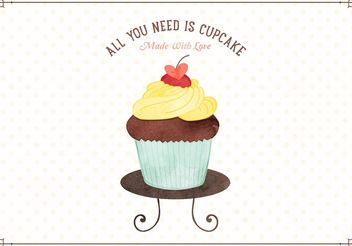 Free Watercolor Cupcake Vector Illustration - Free vector #145143