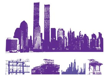 Urban Skylines Graphics Set - Free vector #145363