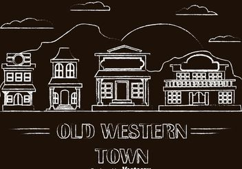 Chalk Drawn Old Western Town Vectors - Free vector #145473