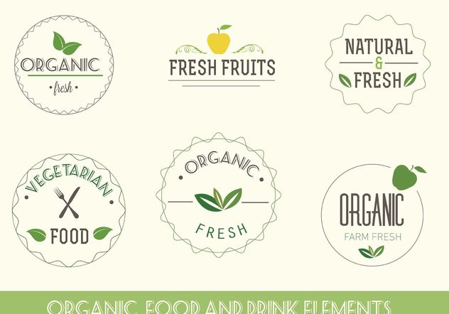 Organic and Vegetarian Labels - Free vector #145503