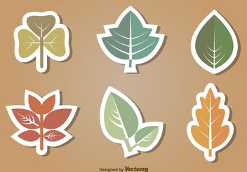 Flat Leaves Vector Icon Set - Free vector #145543