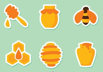 Honey Bee Stickers - Free vector #145583