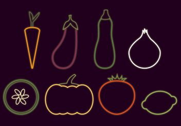 Neon Glowing Veggie Vectors - бесплатный vector #145603