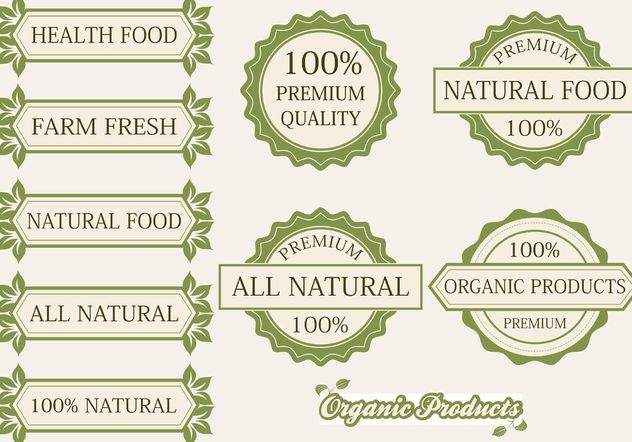 Organic Products Labels and Badges - Free vector #145763