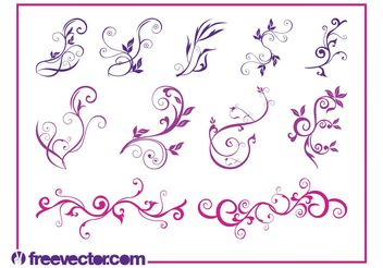 Beautiful Flower Swirls - vector gratuit #145773