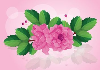 Rose Vector with Leaves - vector gratuit #145803