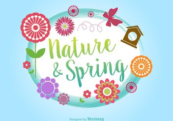 Springtime Typographic Vector Background - Free vector #145943