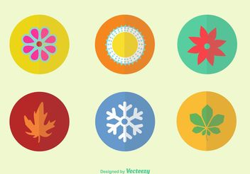 Flat Color Seasonal Vector Icons - бесплатный vector #146003