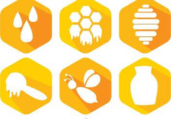 Bee And Honey Icons Vector - Free vector #146153