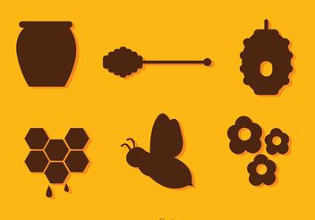 Silhouette Bee And Honey Vectors - бесплатный vector #146173