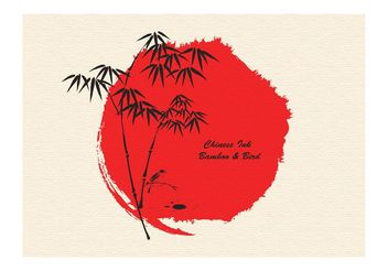 Free Vector Ink Drawn Bamboo And Bird - Free vector #146573