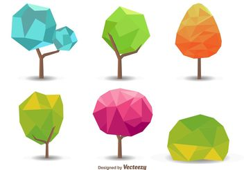 Seasonal Polygonal Tree Vectors - Free vector #146593