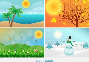 Four Seasons Landscape Illustrations - Free vector #146623