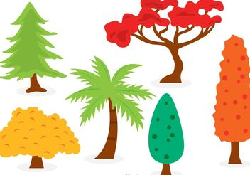 Cartoon Trees Vector Set - Free vector #146643