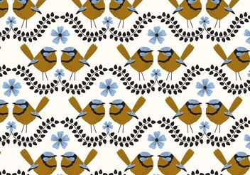 Blue Wren Repeat Pattern - Free vector #146663