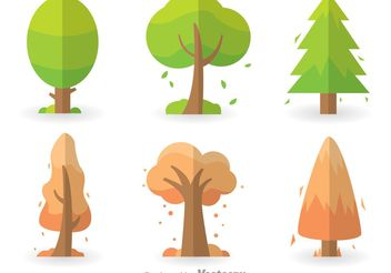 Colorful Tree Icons Set - Free vector #146673