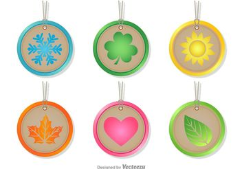 Seasonal Rounded Tags - vector gratuit #146713
