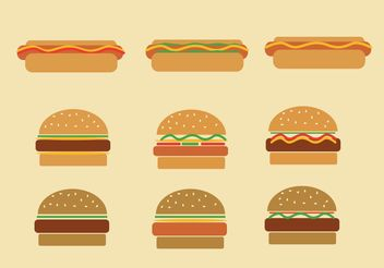Fast Food Hamburgers and Hot Dog Vectors - бесплатный vector #146773