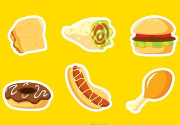 Fast Food Sticker Vectors - бесплатный vector #146793