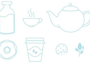 Icons set of food and beverages - vector gratuit #146853