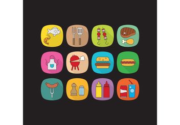 Flat Camp Food Vector Icons - Free vector #146963