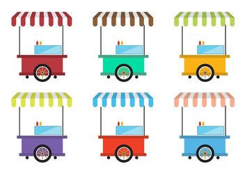 Vintage Food Cart Vectors - vector gratuit #146973