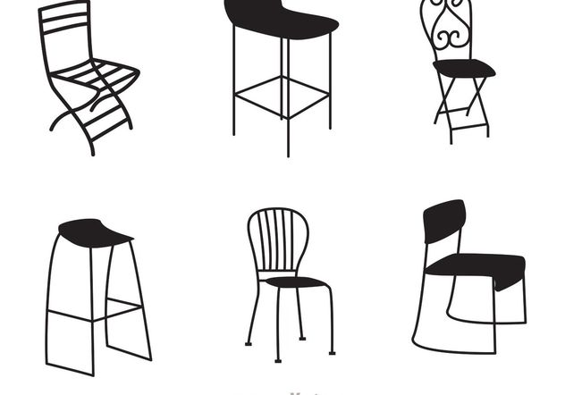 Restaurant Black Chair Vectors - Free vector #147093