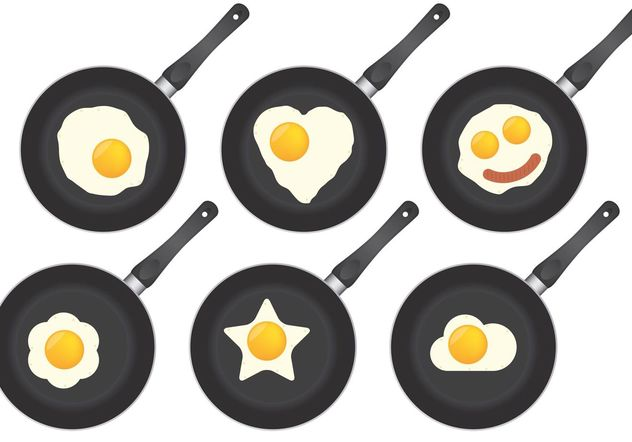 Pans And Fried Eggs - Free vector #147193