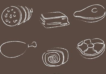 Chalk Drawn Meat Vectors - vector gratuit #147213