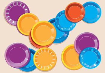 Colorful Paper Plate Vectors - vector gratuit #147273