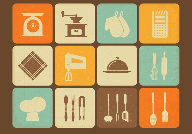 Free Vintage Kitchen Utensils Vector Icons - Free vector #147363