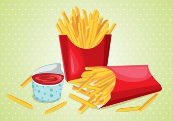 Fries with Sauce Vector - Free vector #147403