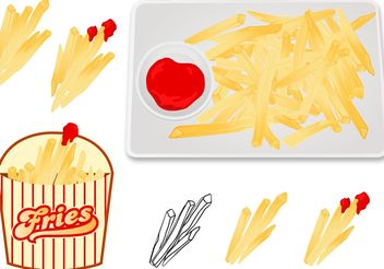 Fries With Sauce Vectors - бесплатный vector #147423
