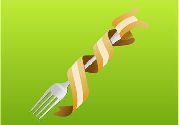 Fork With Pasta - Free vector #147473
