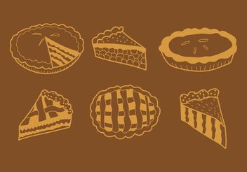 Hand Drawn Apple Pie Vectors - Free vector #147503