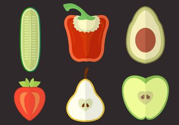 Set of Several Vegtables and Fruits in Vector - бесплатный vector #147513