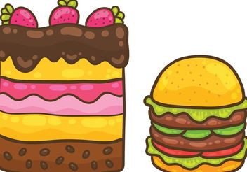 Cake Vector and Burger Vector Pack - Free vector #147773