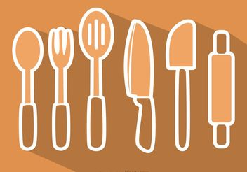 Kitchen Utensil Vectors Pack - Free vector #147973