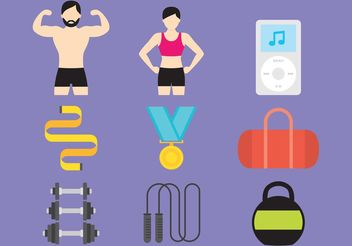 Gym And Health Vector Icons - бесплатный vector #148513