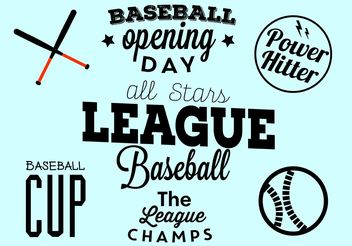 Baseball Opening Day Typographic Set - Kostenloses vector #149113