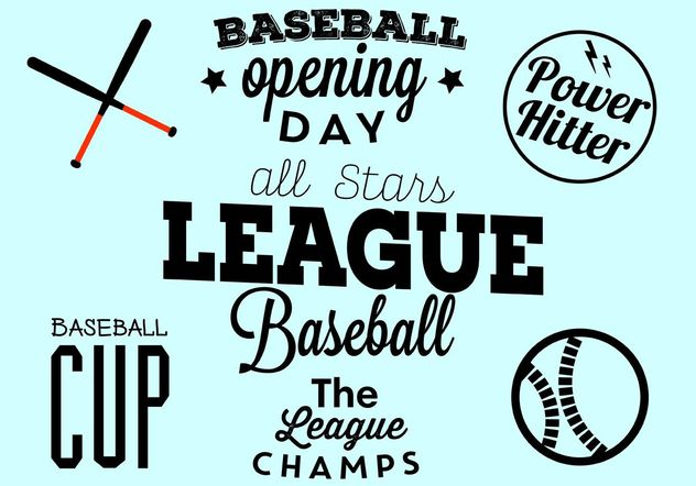 Baseball Opening Day Typographic Set - Free vector #149113