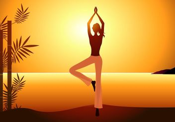 Free Vector Woman Practices Yoga On Sunset - Free vector #149193