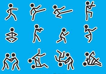Stick Figure Martial Art Vectors - Free vector #149223